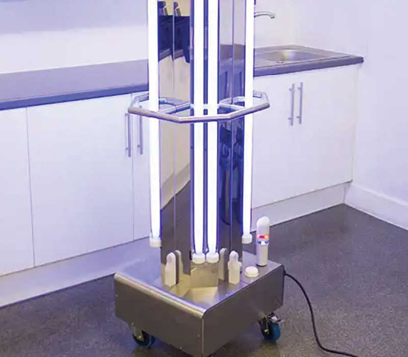 tablet controlled UV-C decontamination trolley